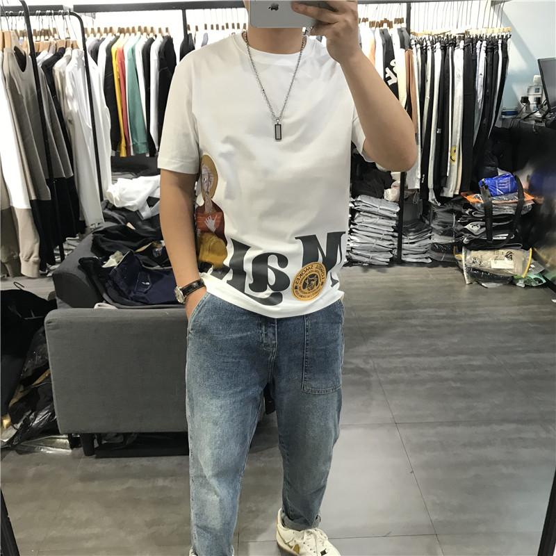 2021夏季新款男士短袖T恤个性人头大字母刺绣油画上衣时尚潮宽松