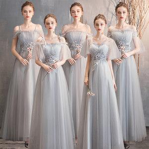 伴娘2019新款灰色伴娘服仙女连衣裙