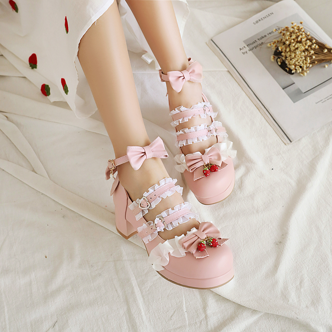 Lolita high heeled single shoes womens original Lolita shoes Japanese sweet and lovely bow thick heeled student shoes