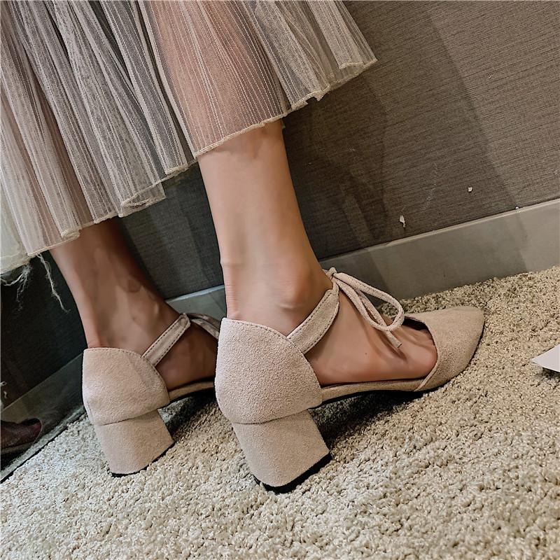 包头凉鞋女仙女风2019夏季新款尖头粗跟系带时尚晚晚风中跟高跟鞋11-13新券
