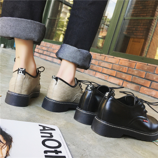 2017秋季新款英伦风女鞋学生百搭系带原宿平底小皮鞋复古中跟单鞋