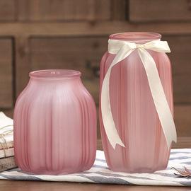 欧式彩色玻璃透明花瓶ins客厅摆件插花水培富贵竹百合干花饰品