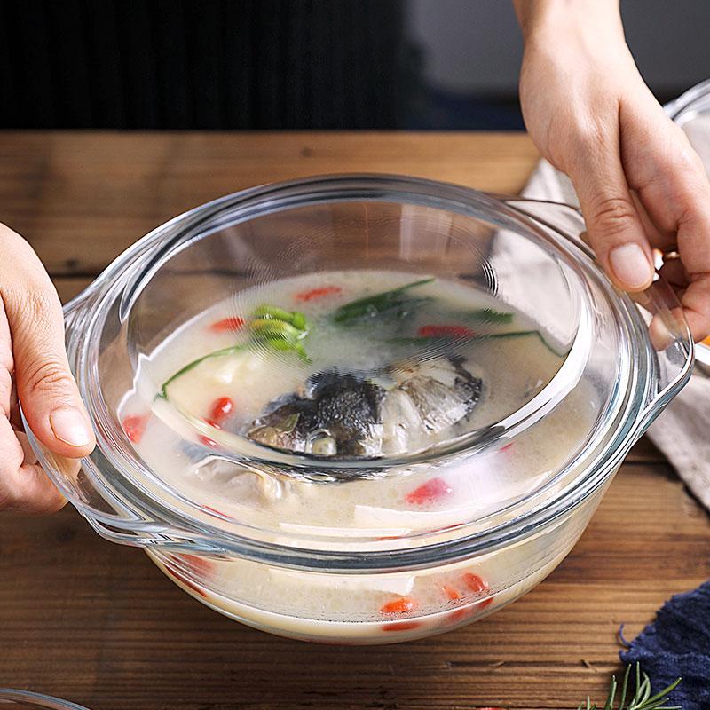 耐热玻璃煲热饭蒸米饭器皿带盖玻璃饭碗煲微波炉烘焙专用家用汤煲10月10日最新优惠