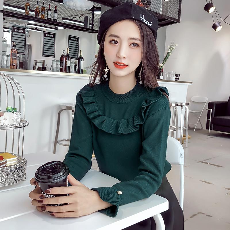 秋装新款韩版修身荷叶边钉珠上衣打底毛衣女潮冬季套头短款针织衫