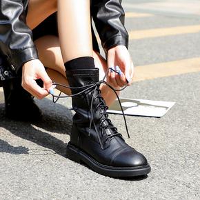 单靴瘦瘦中筒短靴子女2020秋冬季系带圆头新款马丁靴女英伦风平底