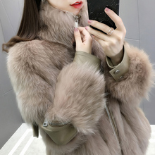 Haining Fur Fox Fur Coat Short Style Young Slender Collar Leather Fur Overcoat Winter