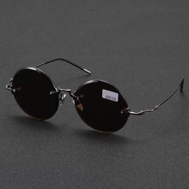 东海水晶眼镜男纯天然石头镜复古款太阳镜正品老梁养目镜司机放光图片
