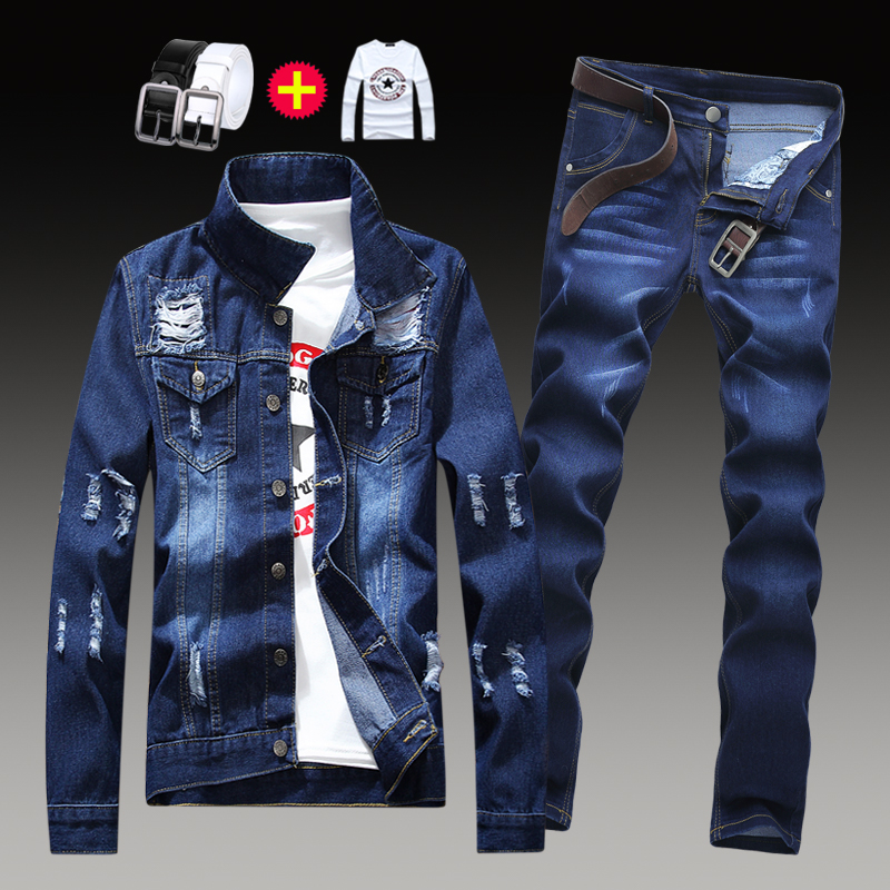Spring and autumn mens Korean slim jacket, jeans and pants a suit of casual and handsome trend coat, mens clothing
