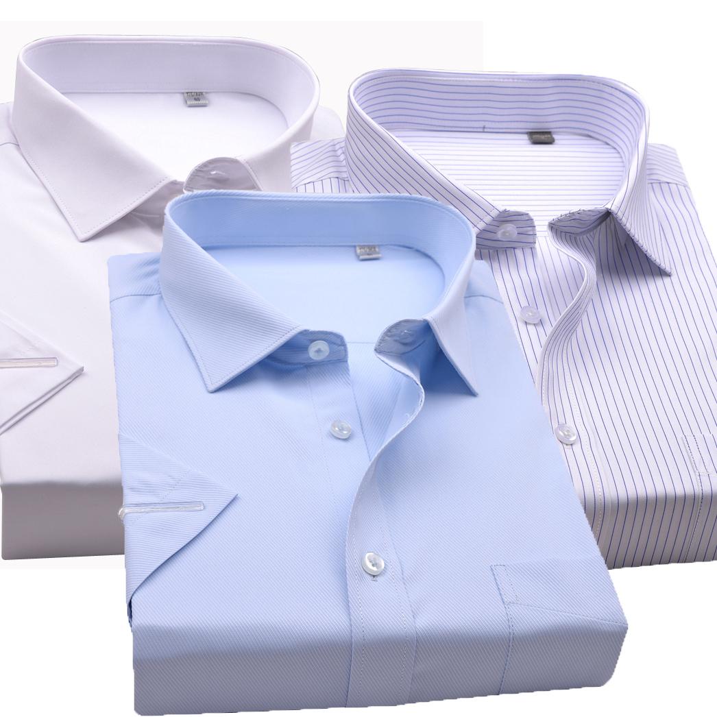 夏新品海螺男短袖白衬衫职业工装蓝条纹银行商务正装免烫半袖衬衣