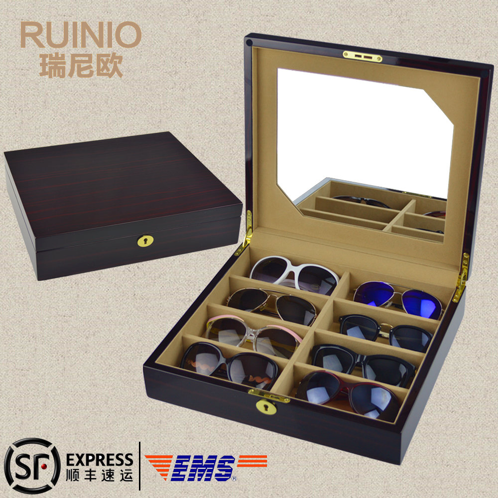 刘涛同款家用太阳镜眼镜收纳盒家墨镜收藏盒木质带镜子带锁包邮