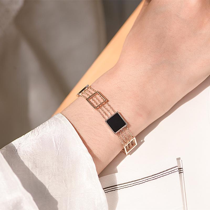 European and American multi-layer square titanium steel rose gold bracelet womens net red simple Bracelet Mori series of personalized Bracelets