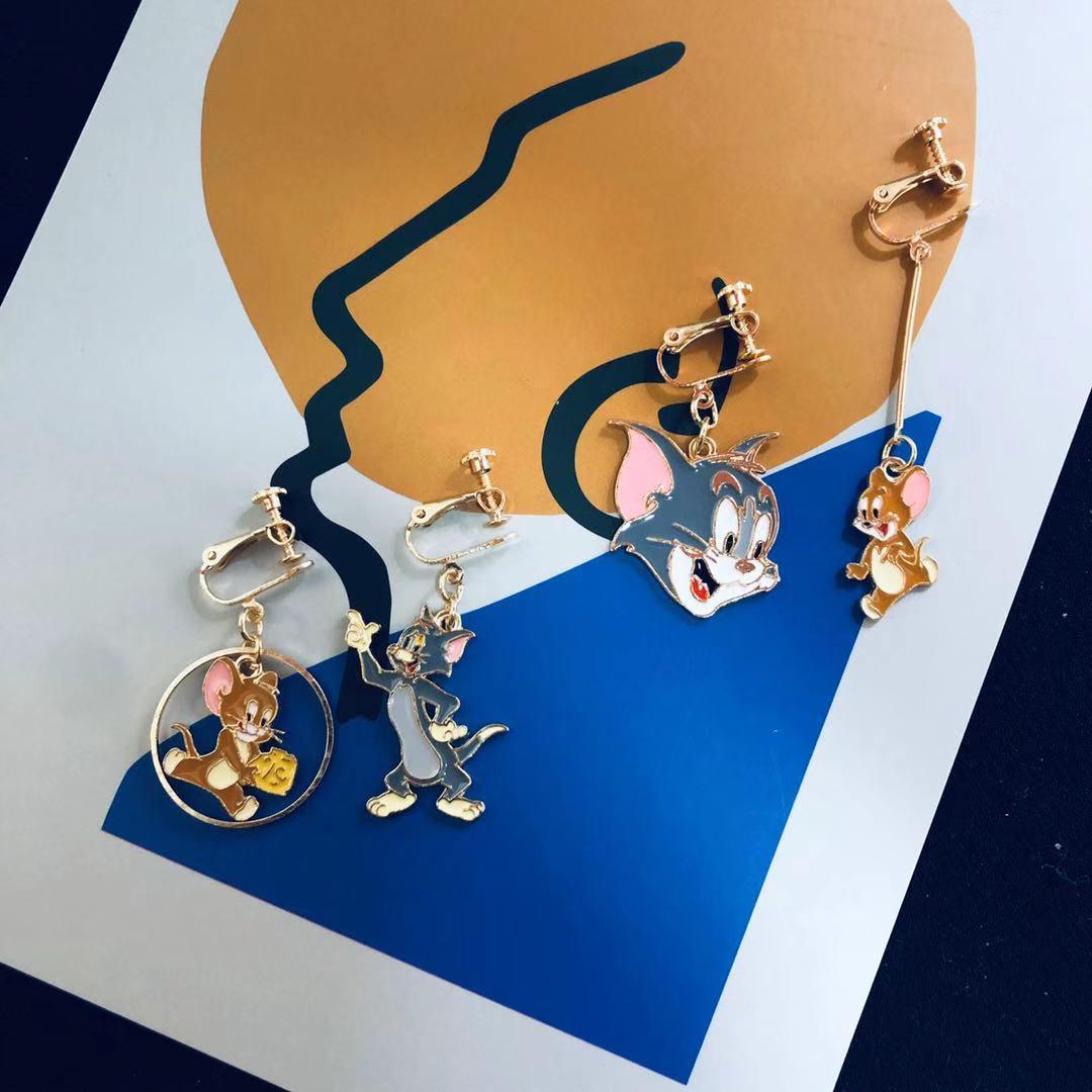 Cat and mouse cartoon funny Earrings Korean temperament net red cute 2019 new fashion earrings earrings earclip girl