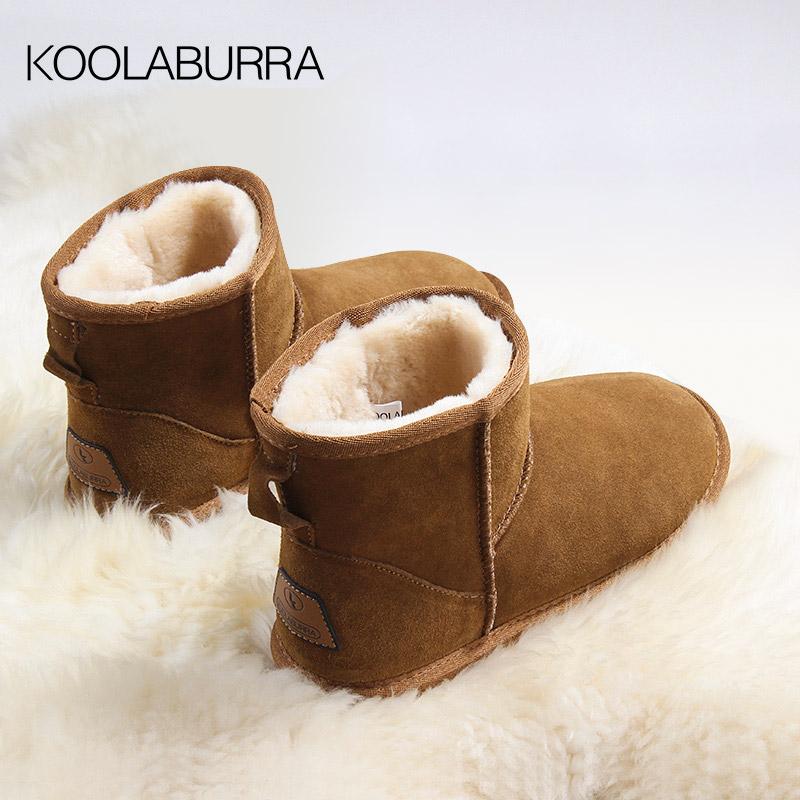 Koolaburra snow boots womens short tube winter leather short boots with plush flat bottom anti-skid thickened medium tube cotton shoes womens