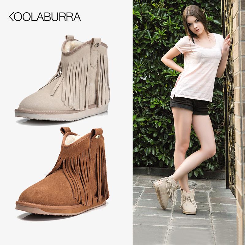 Koolaburra snow boots womens tassel winter short boots leather womens shoes short boots flat heel cotton shoes womens Boots