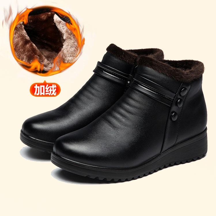 冬の保温の婦人靴のママの綿靴の平底の中高年の老人の綿の靴の女性の靴の靴の靴の靴の上で絨毯の短い靴