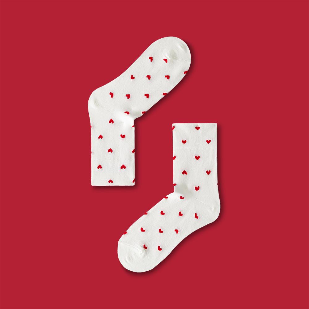 Soocks full of love mercerized cotton wide mouth socks womens socks theme 0109 white red full 60 package mail