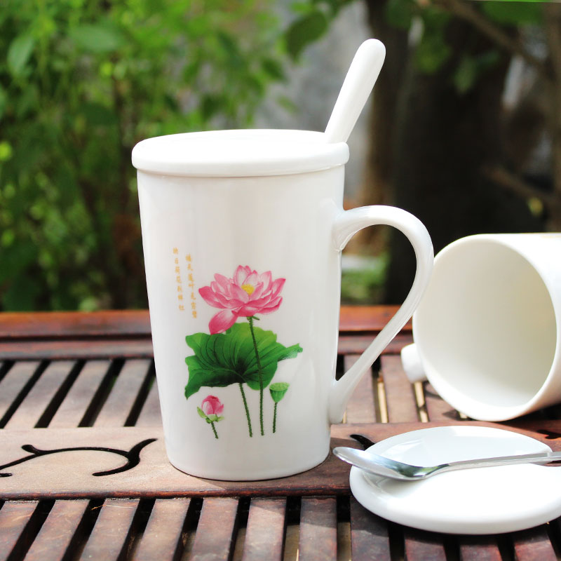 Creative lotus design cup ceramic mug with cover spoon with lotus pattern office ceramic cup tea cup