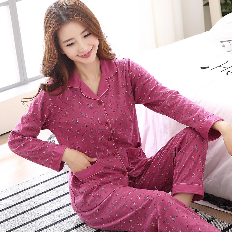 睡衣女冬季纯棉长袖韩版中年妈妈女装可外穿