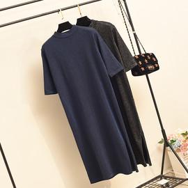 早春秋款黑色亮丝针织中袖连衣裙中长宽松大码过膝长裙流行打底裙