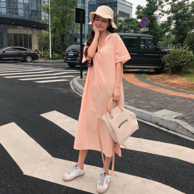 实拍 韩系少女极简主义性冷淡纯色宽松显瘦连衣裙女
