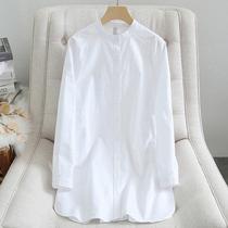 欧美春秋立领显瘦中长款纯棉白衬衣女装长袖宽松职业衬衫上衣大码