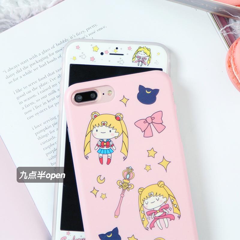 九点半open卡通粉色美少女苹果Xs/Max/XR手机壳iphone7plus/6sP软