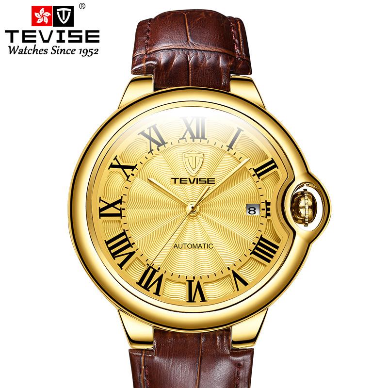 特威斯TEVIS新款商务手表男士 防水不锈钢全自动经典休闲机械表