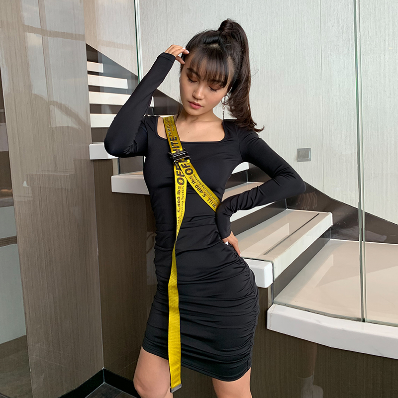 (用1元券)LEIYU连衣裙女2019秋季新款抽绳褶皱短裙黑色方领修身性感包臀裙