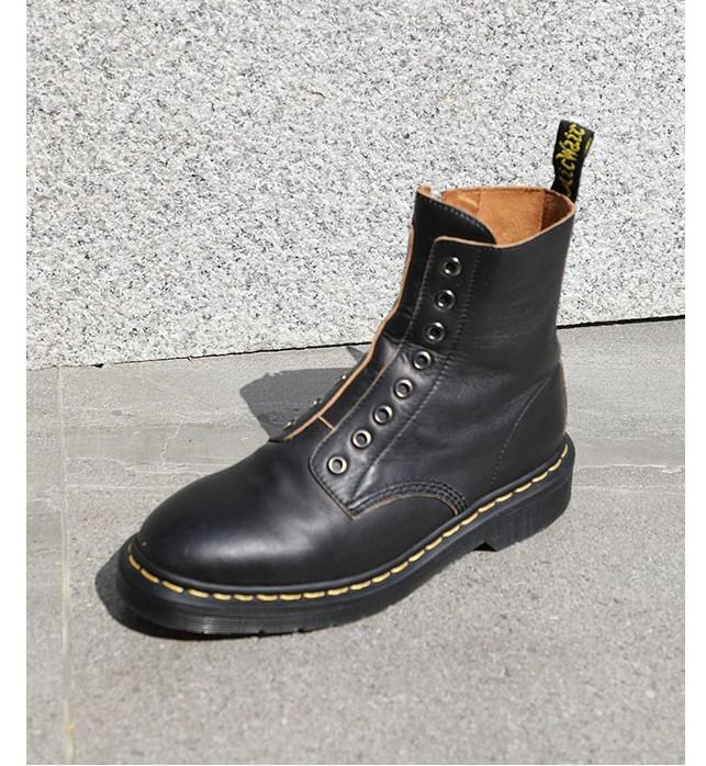 韩版新款百搭中跟短筒侧拉链裸靴圆头牛皮粗跟低帮8孔马丁靴女鞋