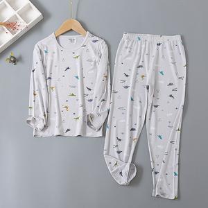 莫代尔套装儿童睡衣夏季薄款长袖女童男童家居服无骨小宝宝空调服