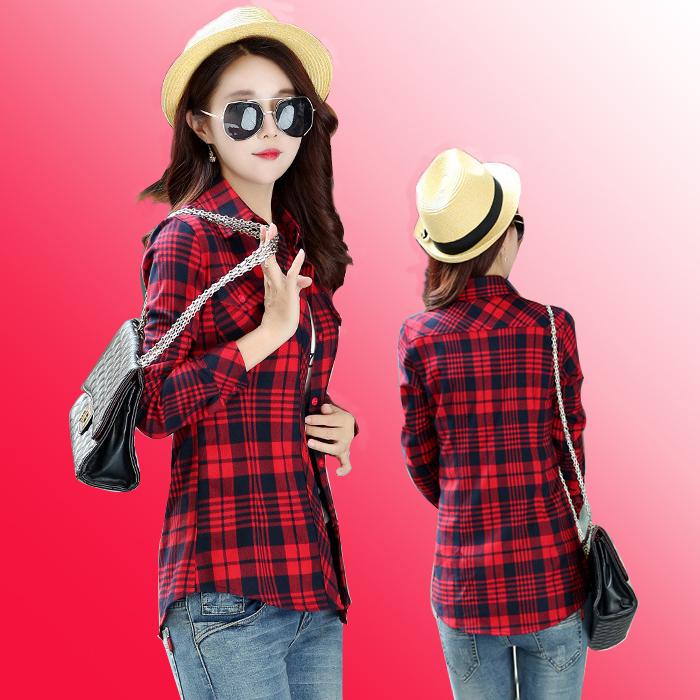 春装新款纯棉布红条花格子长袖衬衫女休闲打底修身中青年学生上衣