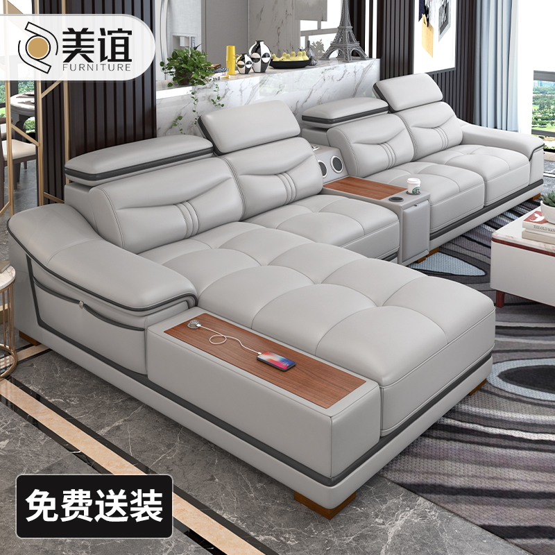 Leather corner sofa, head layer cowhide combination living room, modern and simple size, leather creative luxury sofa