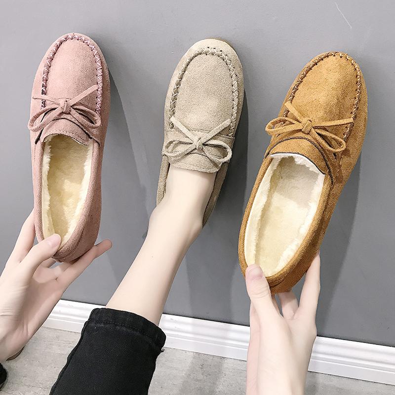 豆豆鞋女平底单鞋牛筋软底加绒棉鞋舒适孕妇新款秋冬女士懒人妈妈图片