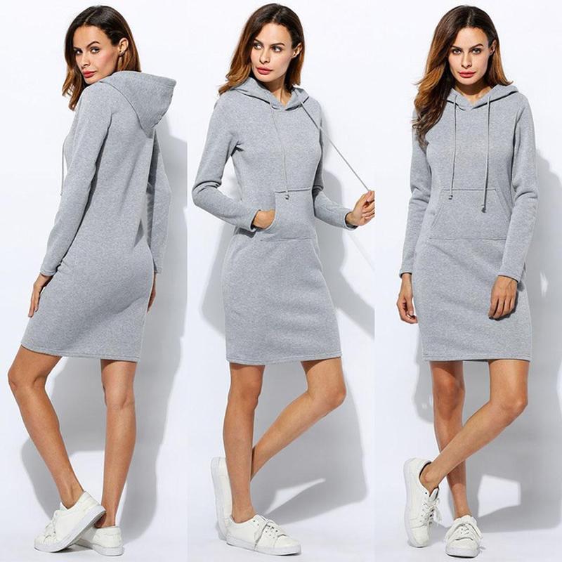 Women winter clothes plus size Sportswear Hoodie long dress