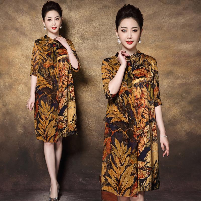 中年妈妈夏装连衣裙2020新款中老年女装高贵F1215/P80