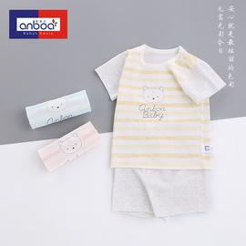 安宝儿婴儿短袖套装夏装纯棉内衣套夏季衣服宝宝睡衣薄款空调服图片