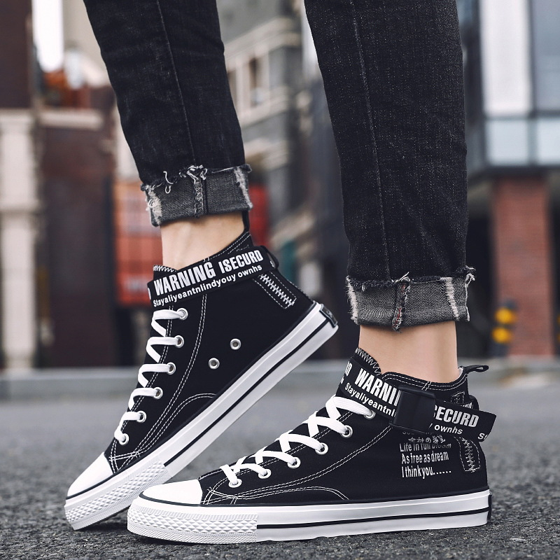 Autumn new mens shoes Korean buckle graffiti canvas shoes mens Gangfeng board shoes student high top shoes 6922
