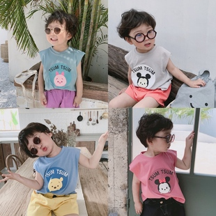 小童背心男童坎袖外穿無袖上衣夏季潮套裝兒童純棉超薄款透氣寶寶