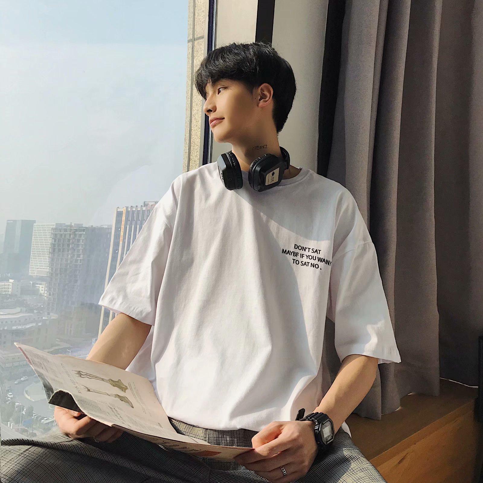 短袖男士T恤潮流印花圆领夏季印花半袖男装上衣服韩版夏装潮牌丅