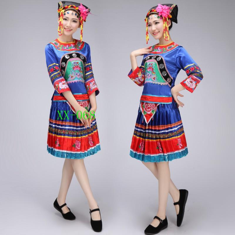 2017新款少数民族舞蹈演出服青中老年女苗族彝族百褶裙广场套装