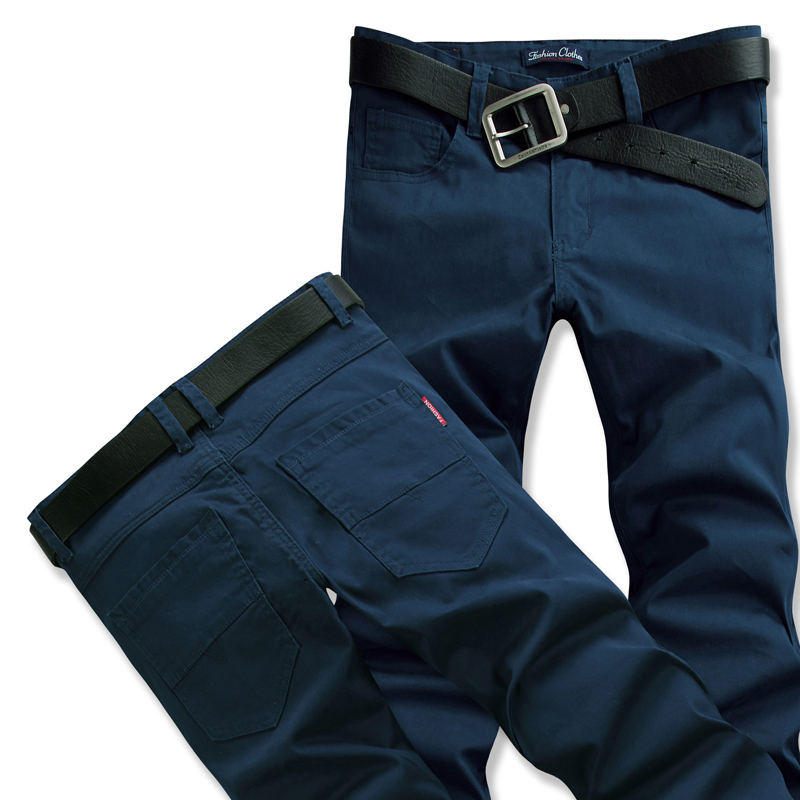 Mens versatile casual pants SLIM STRAIGHT pants youth mens pants big micro elastic business pants fashion