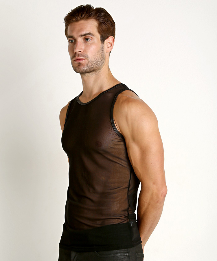 Custom mesh vest mens hollow summer slim mesh pure color transparent thin perspective sexy undergarment