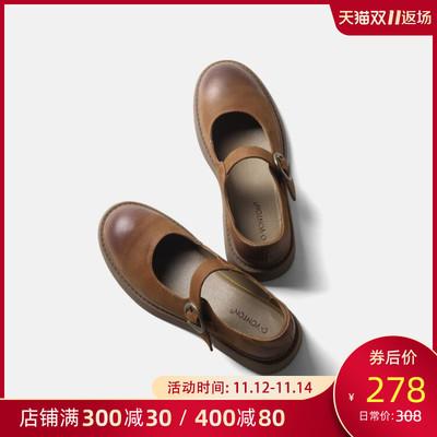 青婉田英伦小皮鞋女复古玛丽珍鞋一字扣单鞋女平底真皮jk鞋制服鞋