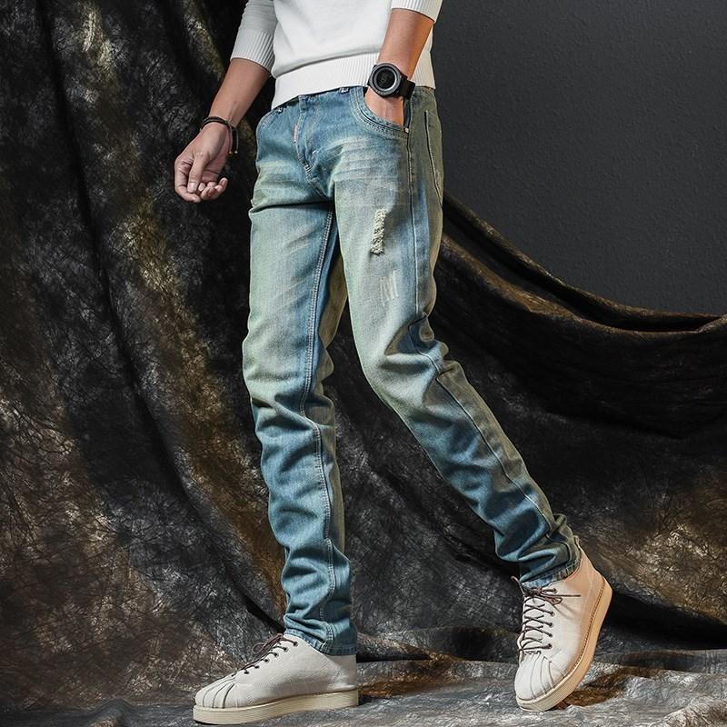 代购秋季牛仔裤男修身直筒2019新款韩版潮流百搭男士小脚裤子