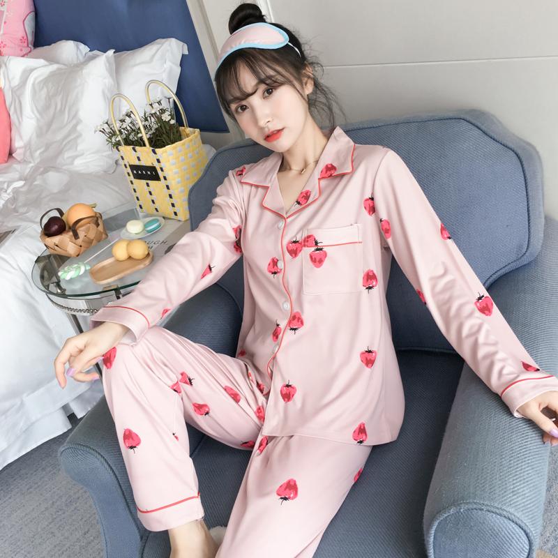 睡衣女秋季开衫长袖棉质套装可外穿春秋女士韩版甜美家居服女睡衣