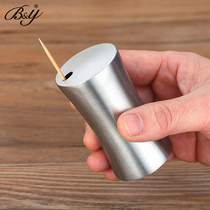By Stainless steel toothpick box Creative portable toothpick barrel household toothpick barrel household goods toothpick tank
