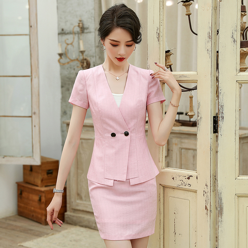 Double breasted short sleeve suit coat womens summer dress ol commuting collarless White Black Pink thick vertical stripe slim fitting professional dress