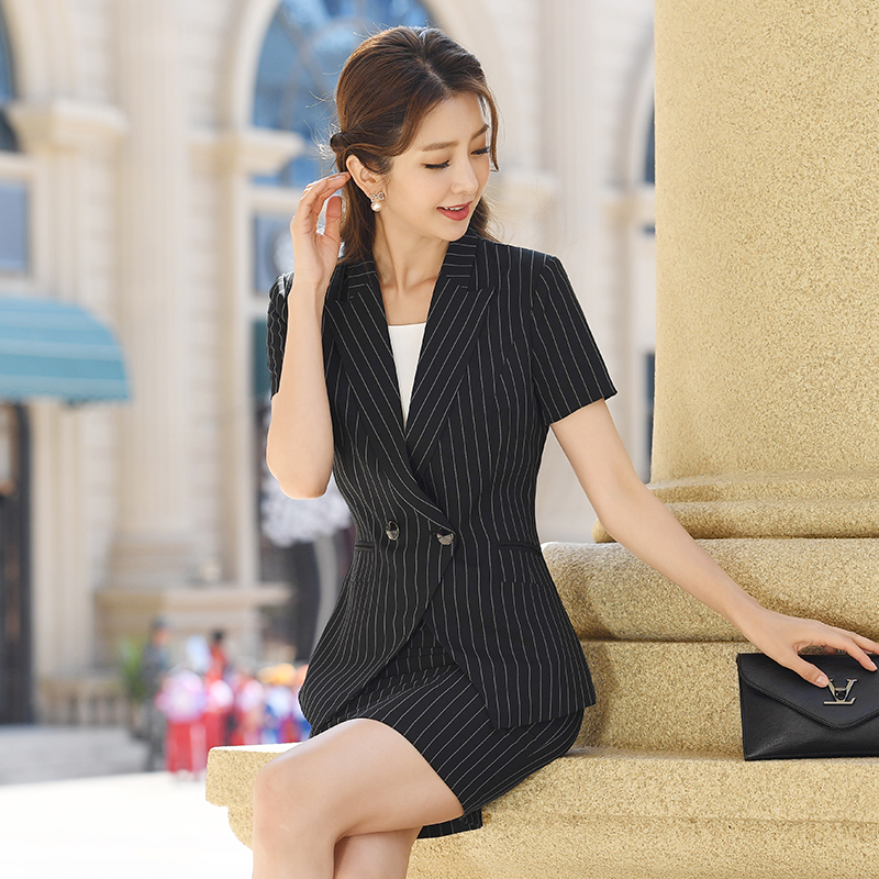Double breasted short sleeve suit coat womens summer dress blue black vertical stripe slim fit new professional suit skirt and pants