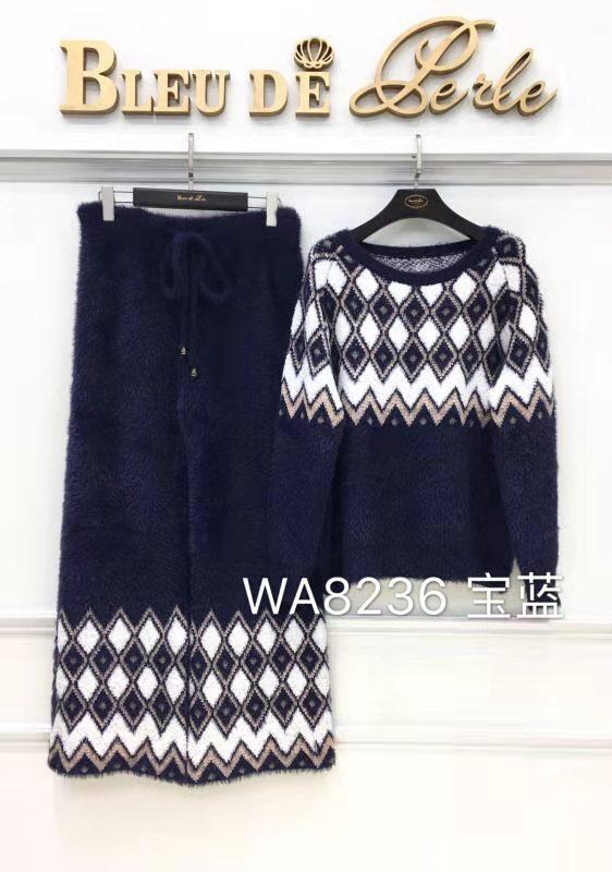 蓝贝美匠针织雪尼尔睡衣套装简约舒适显气质秋冬家居服