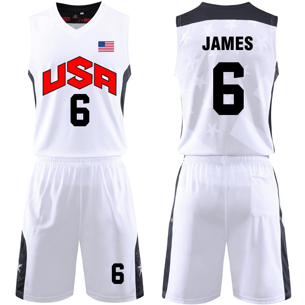 限5000张券UAS梦之队梦十美国国家队篮球比赛训练服套装定制印刷6号詹姆斯